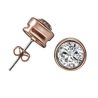 Rose Gold 2 Carat (8mm) Swarvoski Studs