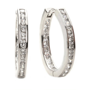 Channel-Set Oval Hoop Earrings