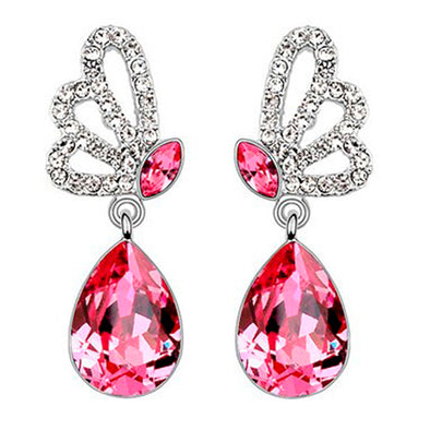 Swarovski Elements Butterfly Earrings in Pink