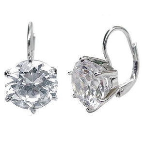 4 Carat (10mm) Round Cut CZ Leverbacks
