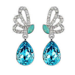 Swarovski Elements Butterfly Earrings in Blue
