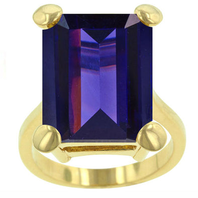 Gold Emerald Cut Tanzanite Ring