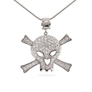 Pavé Skull and Crossbones Necklace