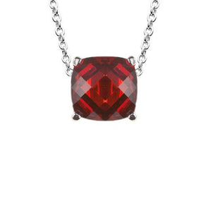 Portofino Cushion Cut Necklace in Ruby Red