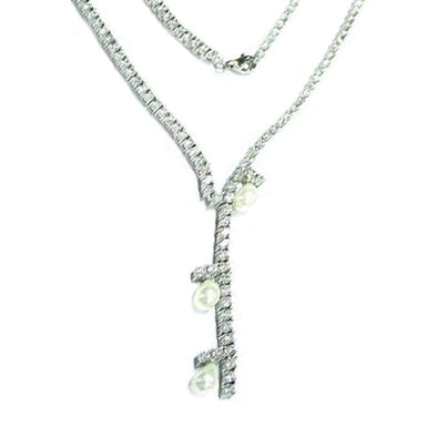 Riviera Pearl and Simulated Diamond Necklace