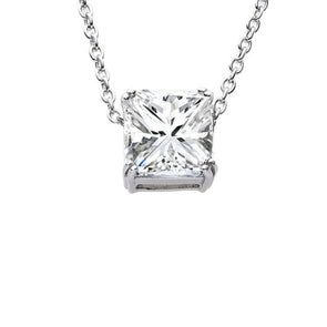 2.5 Carat (9mm) Princess Cut Necklace