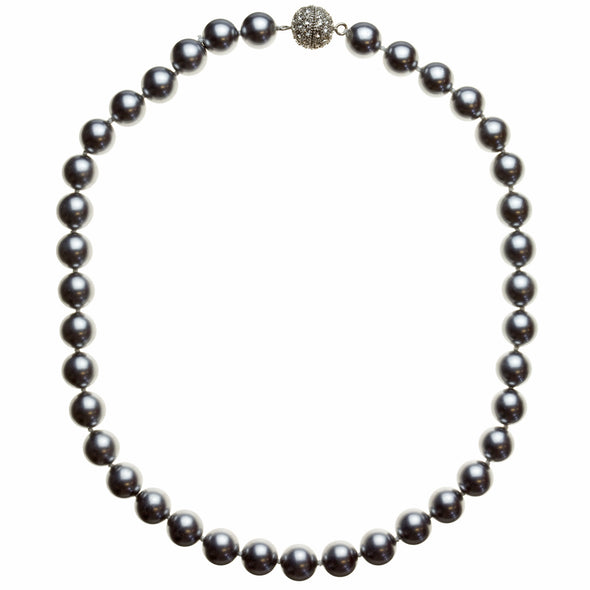 10mm Tahitian Gray Pearl Pavé Necklace