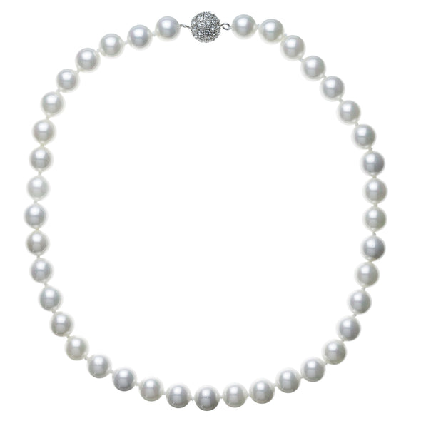 10mm White Pearl Pavé Necklace