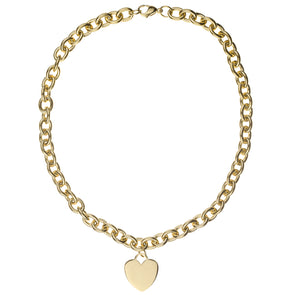 Stainless Steel Gold Heart Tag Necklace