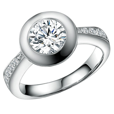 2.5 Carat (9mm) Bezel Set Pavè Ring