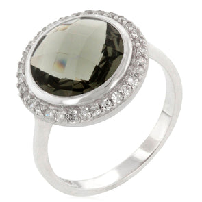 Amirante Round Faceted Ring in Smoky Topaz CZ