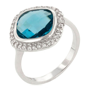 Amirante Faceted Ring in Aquamarine Blue CZ