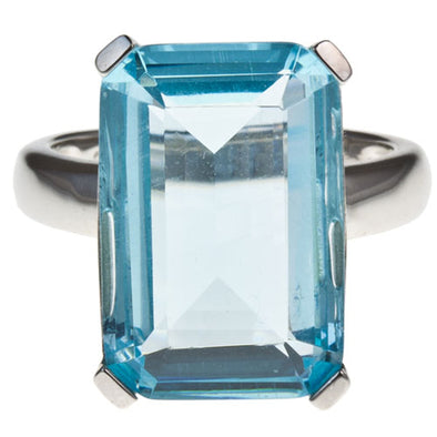 High Society Cocktail Ring in Aquamarine Blue