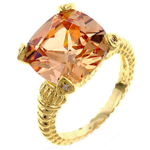 Gold Catwalk Cable Ring in Cognac