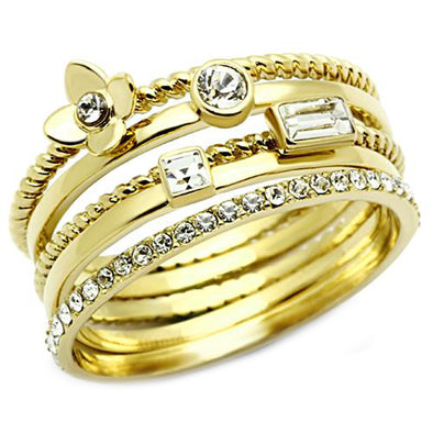 Stackable Gold Crystal 5 Ring Set