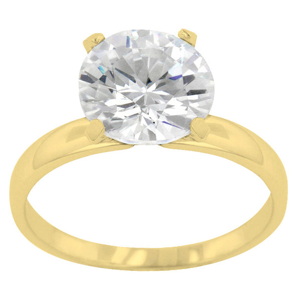 3 Carat (10mm) Gold Round Cut CZ Solitaire Ring