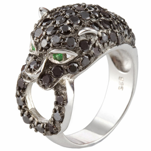 Jaguar Simulated Black Diamond Ring