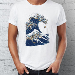 Kanagawa's great wave of Pugs ~ Men T-Shirt Clothes PUGYOU