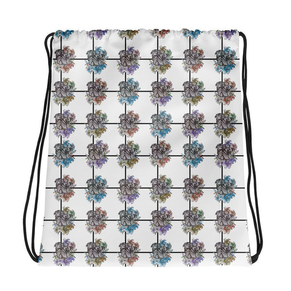 Pugs of All Flowers ~ Drawstring bag-Accessories-Pug You