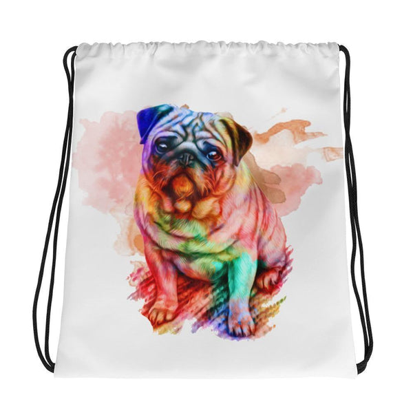 Rainbow puggy ~ Drawstring bag-Accessories-Pug You
