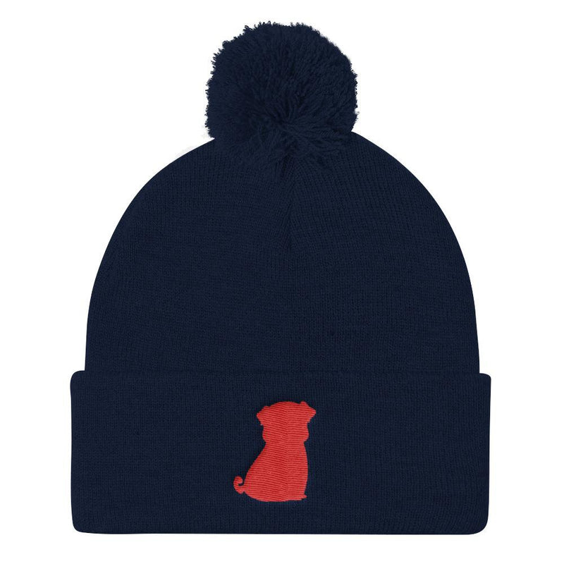 Red Pug Silhouette ~ Pom Pom Knit Cap-Accessories-Pug You