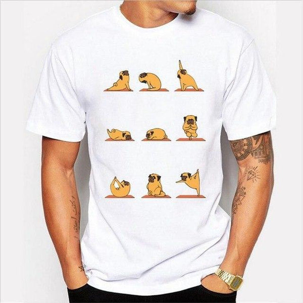 Small Dog Yoga ~ Casual T-Shirt-Clothes-Pug You