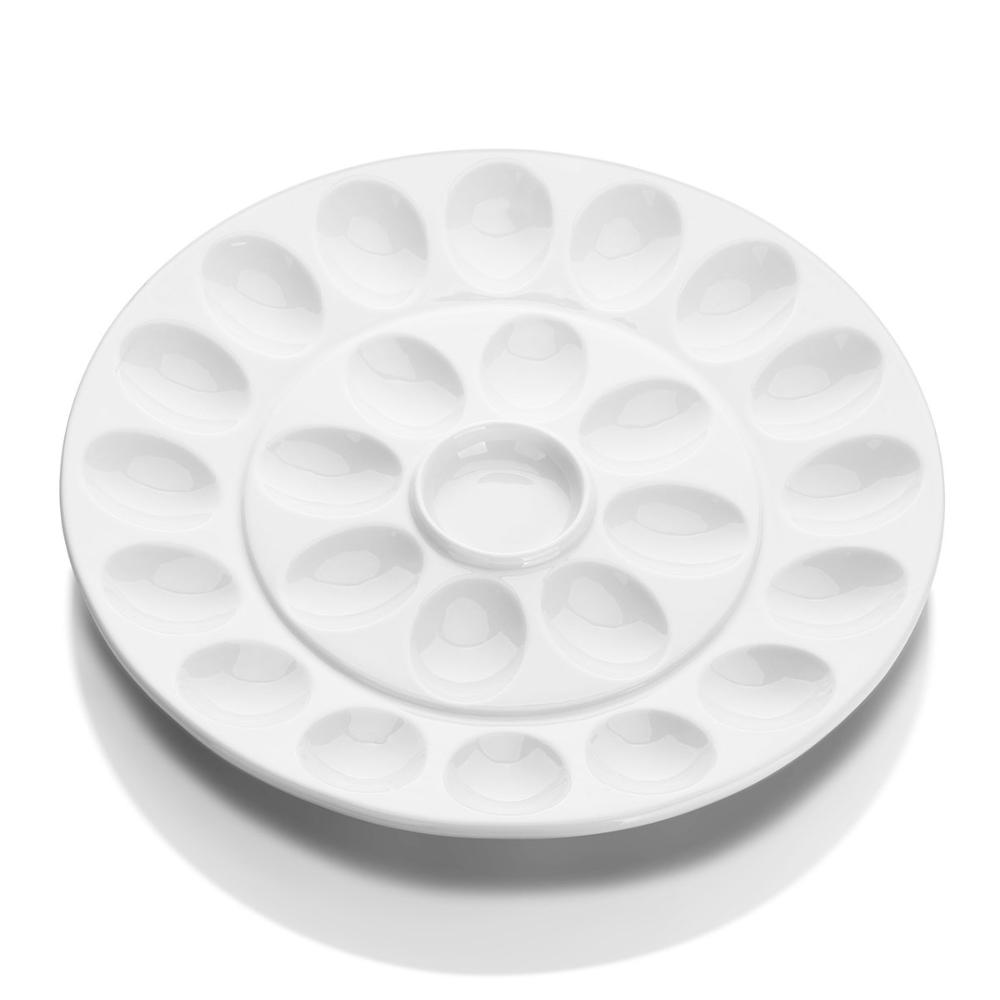 DOWAN® 12.6-inch White Porcelain Deviled Egg Dish front view