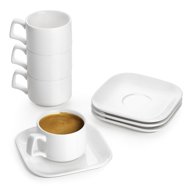 DOWAN  Porcelain Espresso Cups with Saucers