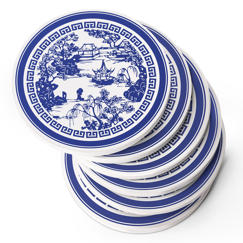 DOWAN® Blue and white porcelain coasters - set of 6
