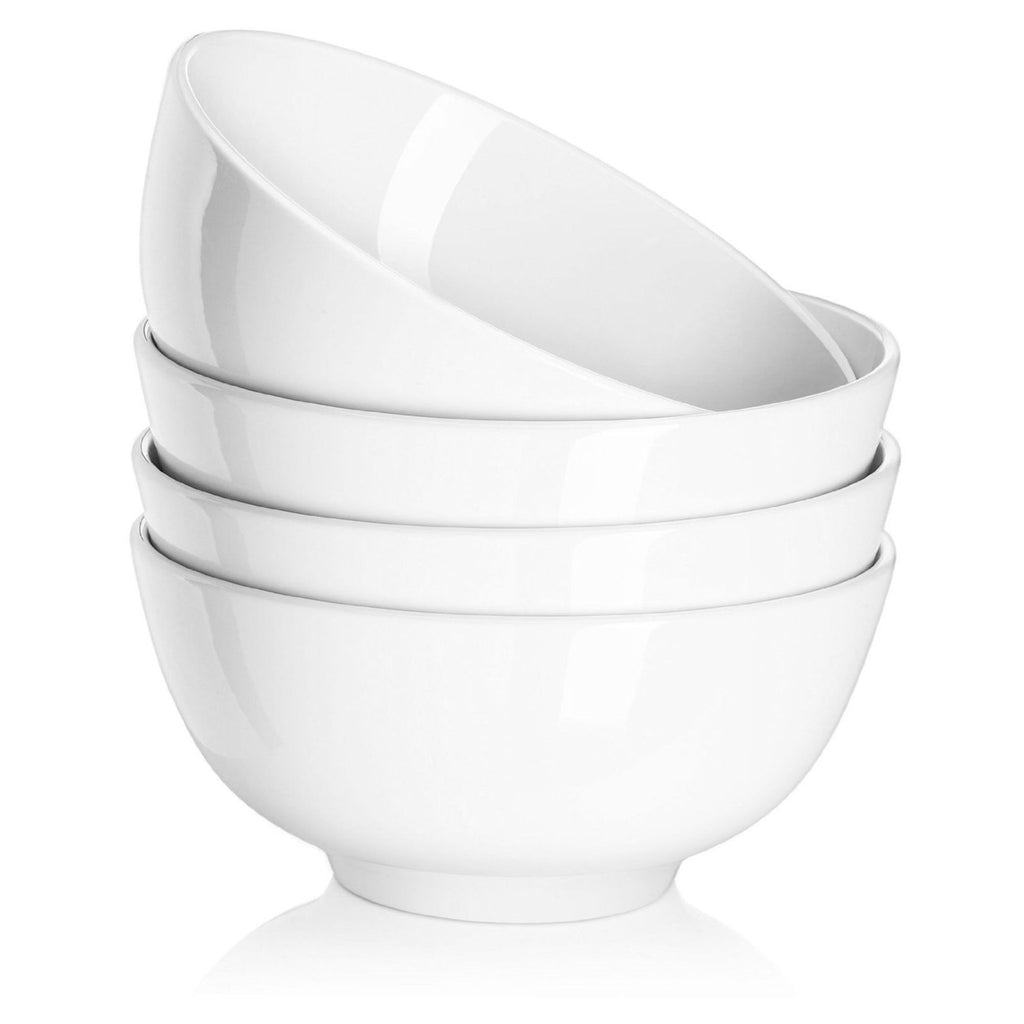 DOWAN® 22oz Porcelain Soup/Cereal Bowls - 4 Packs, White