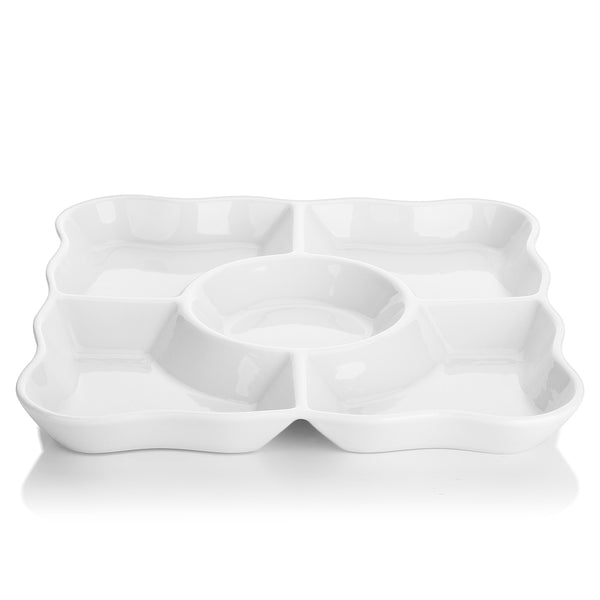 DOWAN® 9.4-inch Porcelain Divided Serving Trays, Set of 2, White