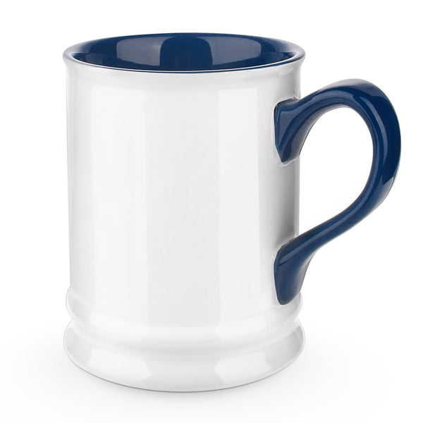 DOWAN® Coffee Mug, Ceramic Tea Mug, White and Blue - 16 Ounce