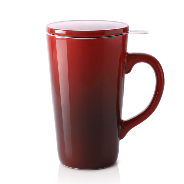 DOWAN 17OZ Porcelain Tea Mug with Infuser and Lid, Red