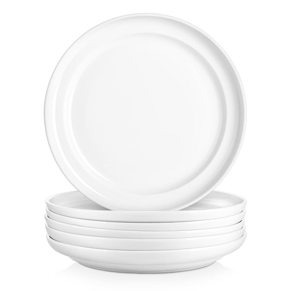 DOWAN 10-Inch Porcelain  Elegant Serving Plate Set for Salad and Pasta, Set of 6
