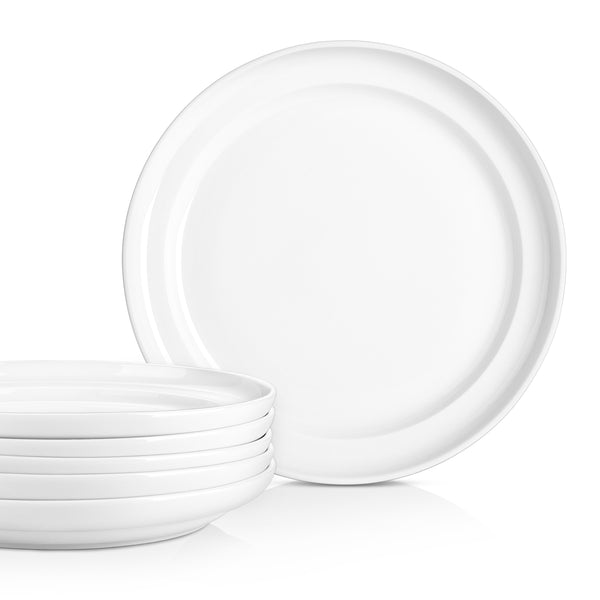 DOWAN 8-Inch Porcelain  Elegant Serving Plate Set for Salad and Pasta, Set of 6