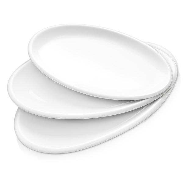 DOWAN 12-14-15.5-Inch Oval Porcelain Serving Plates for Party, Set of 3