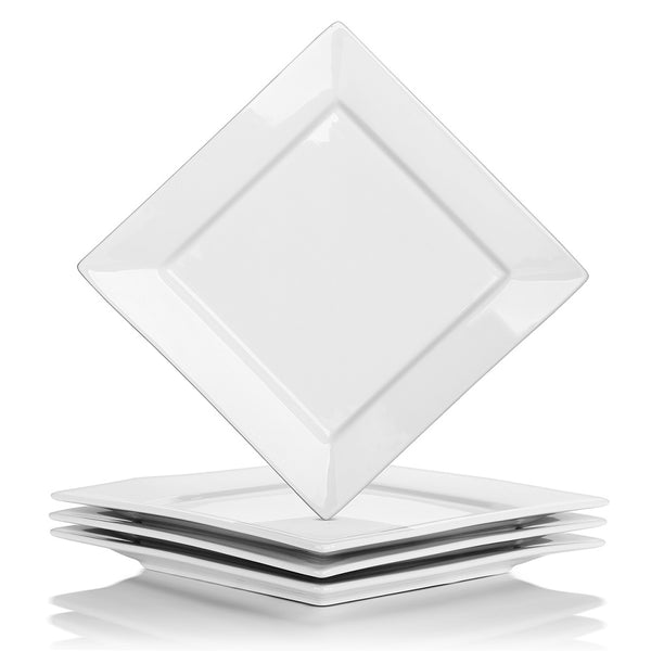 DOWAN® 9.5 Inch White Porcelain Square Dinner Plates front view