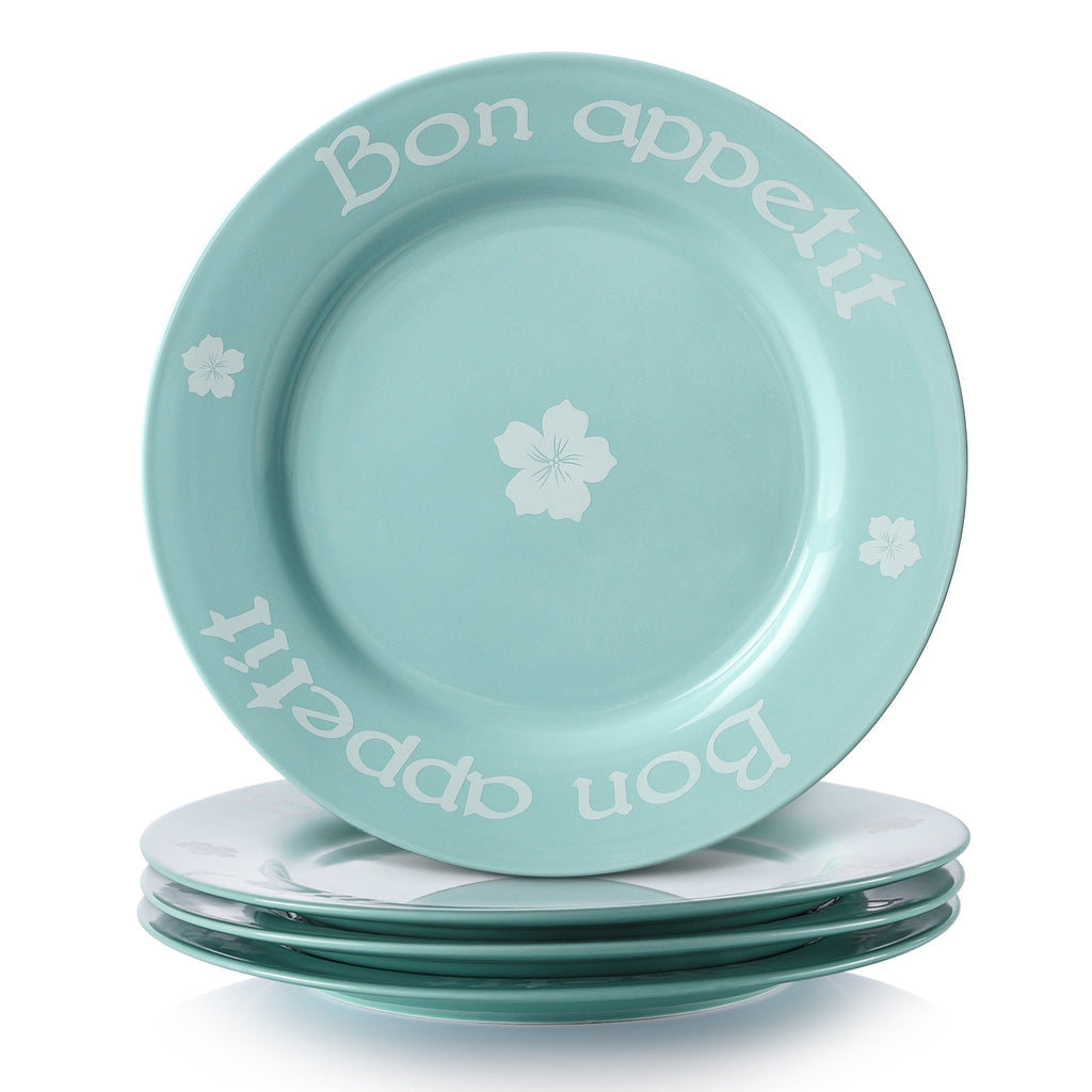 DOWAN 10 Inches Ceramic Dinner Plates, Large Elegant Serving Platter Set for Salad and Pasta, Turquoise,Set of 4