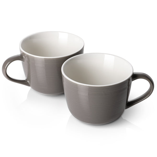 DOWAN 17oz Brown Large Jumbo Wide-mouth Soup Bowl and Cereal Mugs, Set of 2