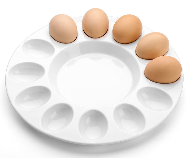 DOWAN 10-Inch Porcelain Round and White Deviled Egg Dish, Egg Platter for 12 Eggs, Set of 1