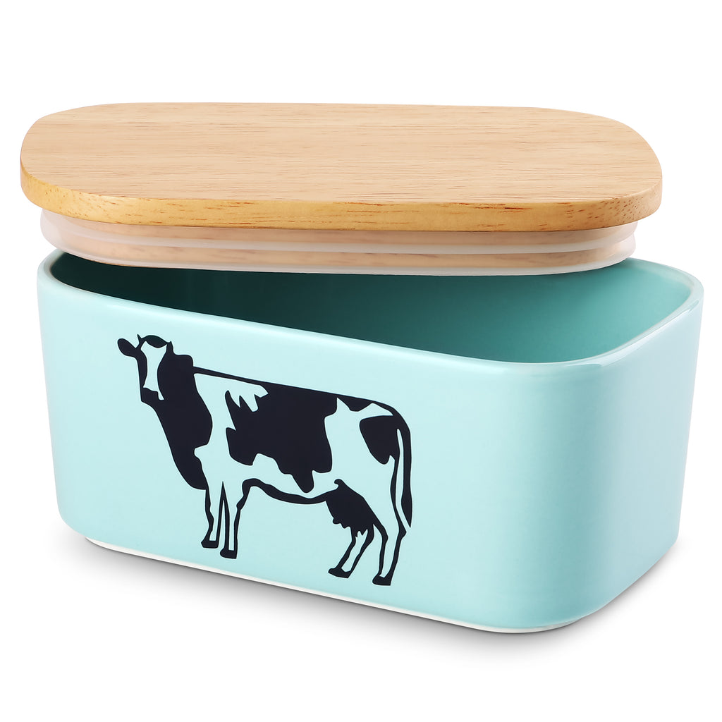 DOWAN Blue Butter Dish with Lid, Airtight Butter Keeper,Cow Butter Dish, Set of 1