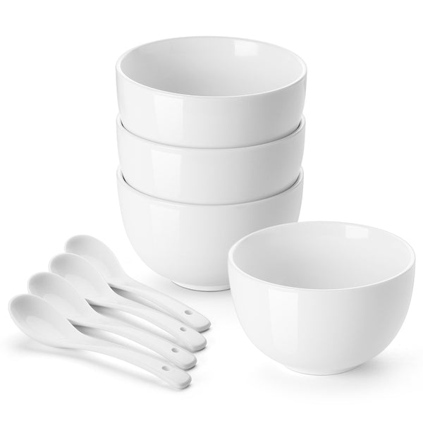 DOWAN 30-Oz White Soup Porcelain Bowls with  Spoons Set, Set of 4