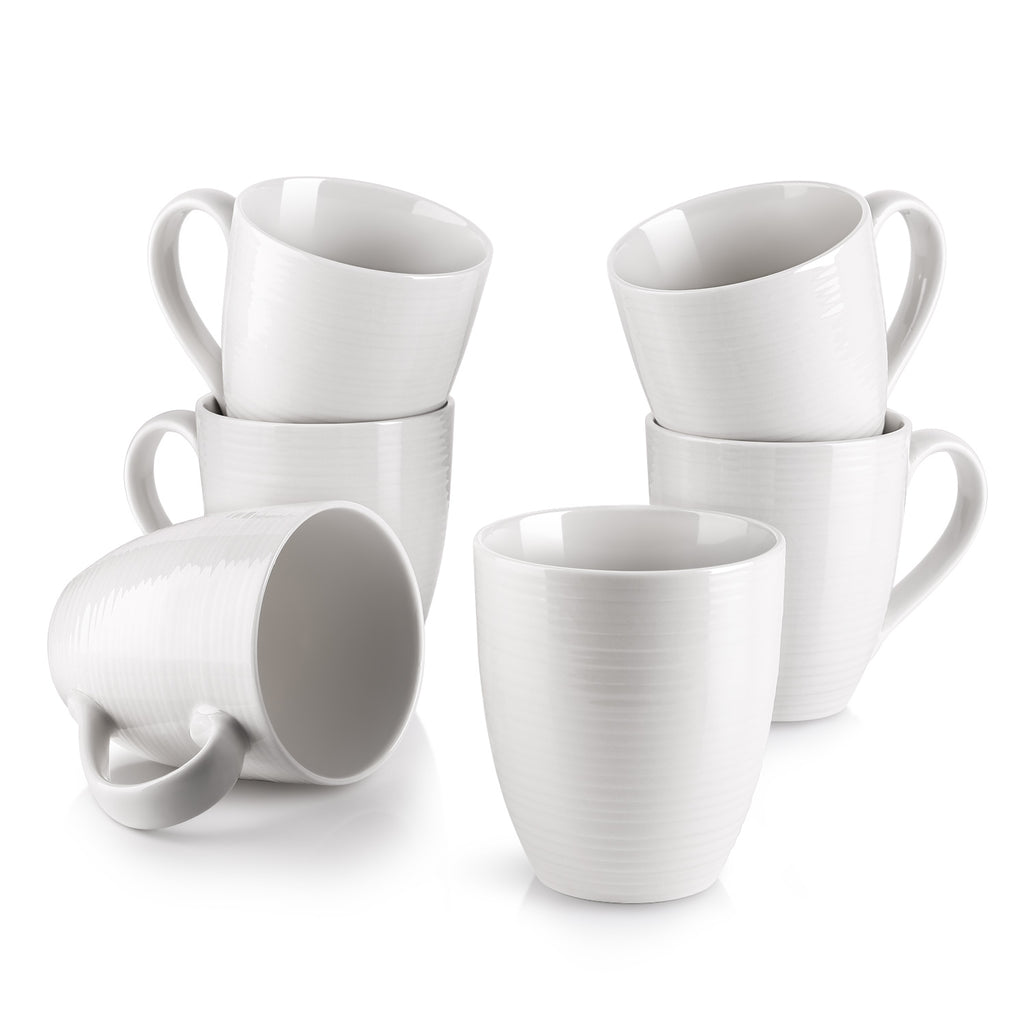DOWAN 17-Ounce White Corrugated Coffee Mugs Coffee Mug, Set of 6