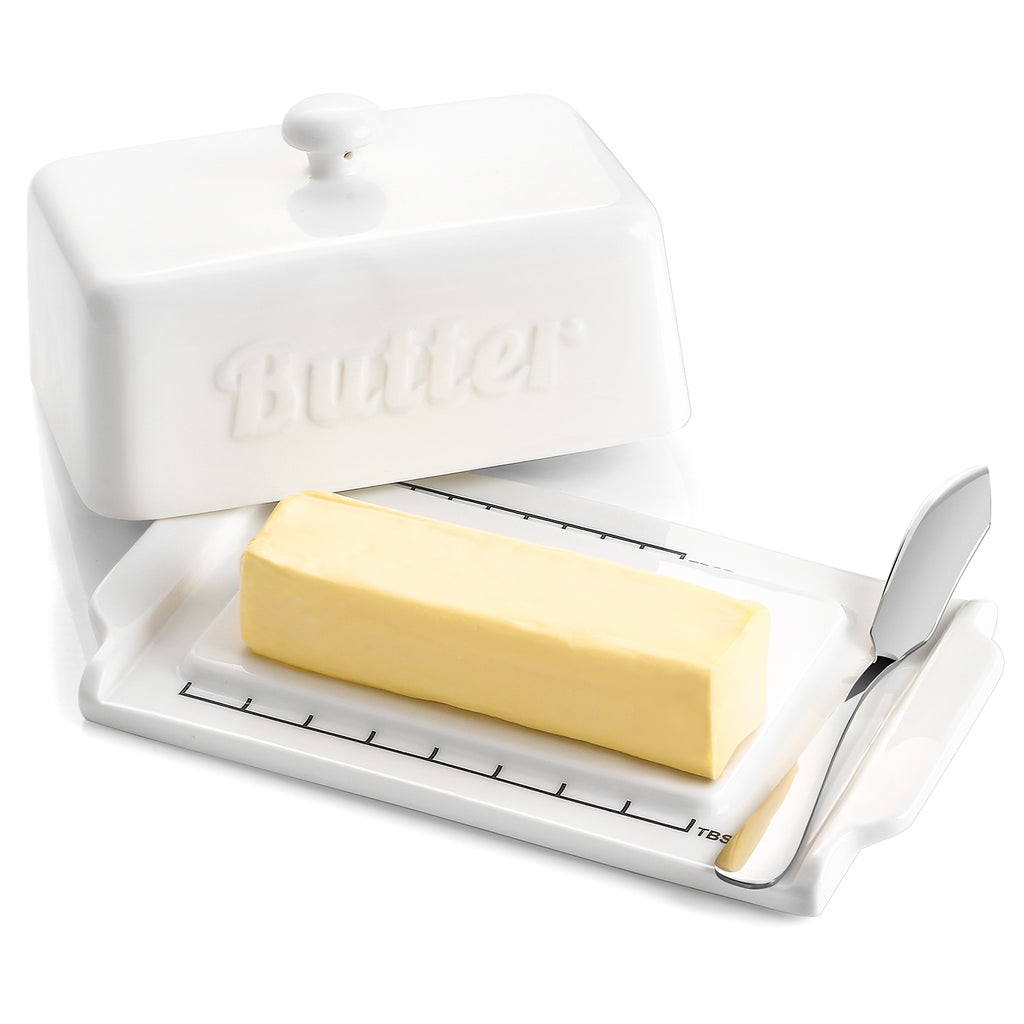 DOWAN Porcelain Butter Dish for Both East and West