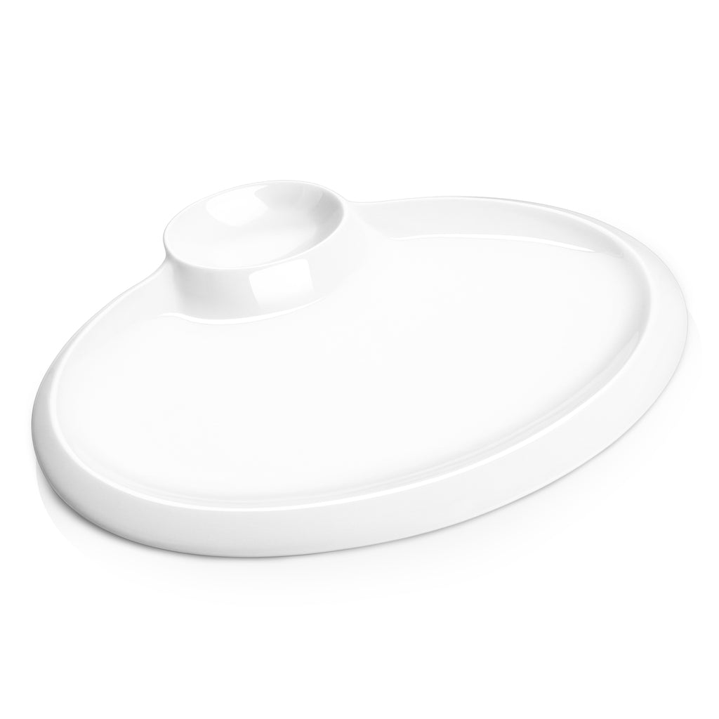DOWAN 12-Inche Porcelain White Oval Serving Plates with Chip and Dip Sets, Set of 2