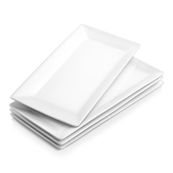 DOWAN 12-Inch Porcelain White and Rectangular Serving Platters, Dinner Plate Set, Set of 4