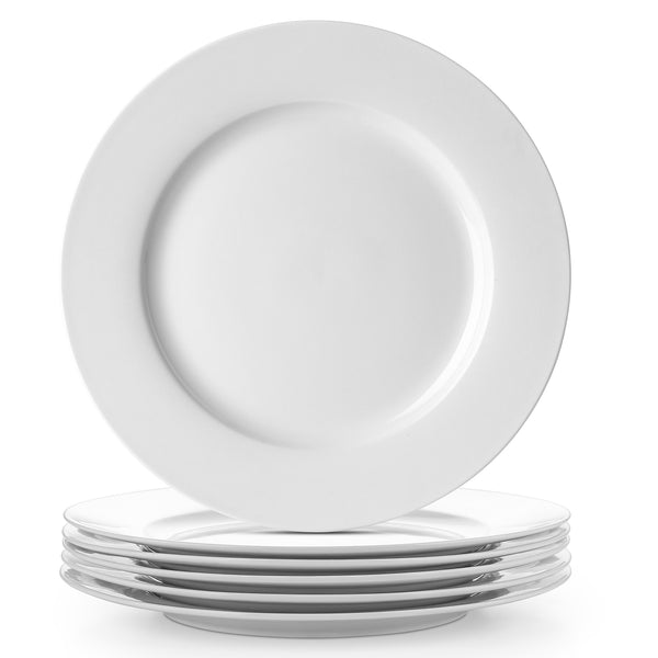 DOWAN 10-Inch White Light Weight Serving Platters, Dinner plates, Set of 6