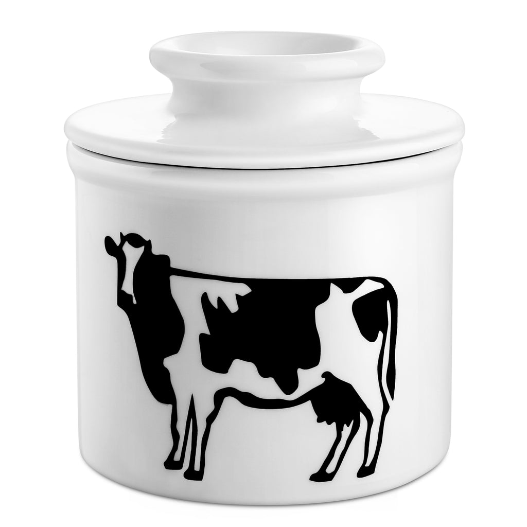 DOWAN Porcelain Butter Keeper Crock, Cow Butter Crock, French Butter Dish, Set of 1
