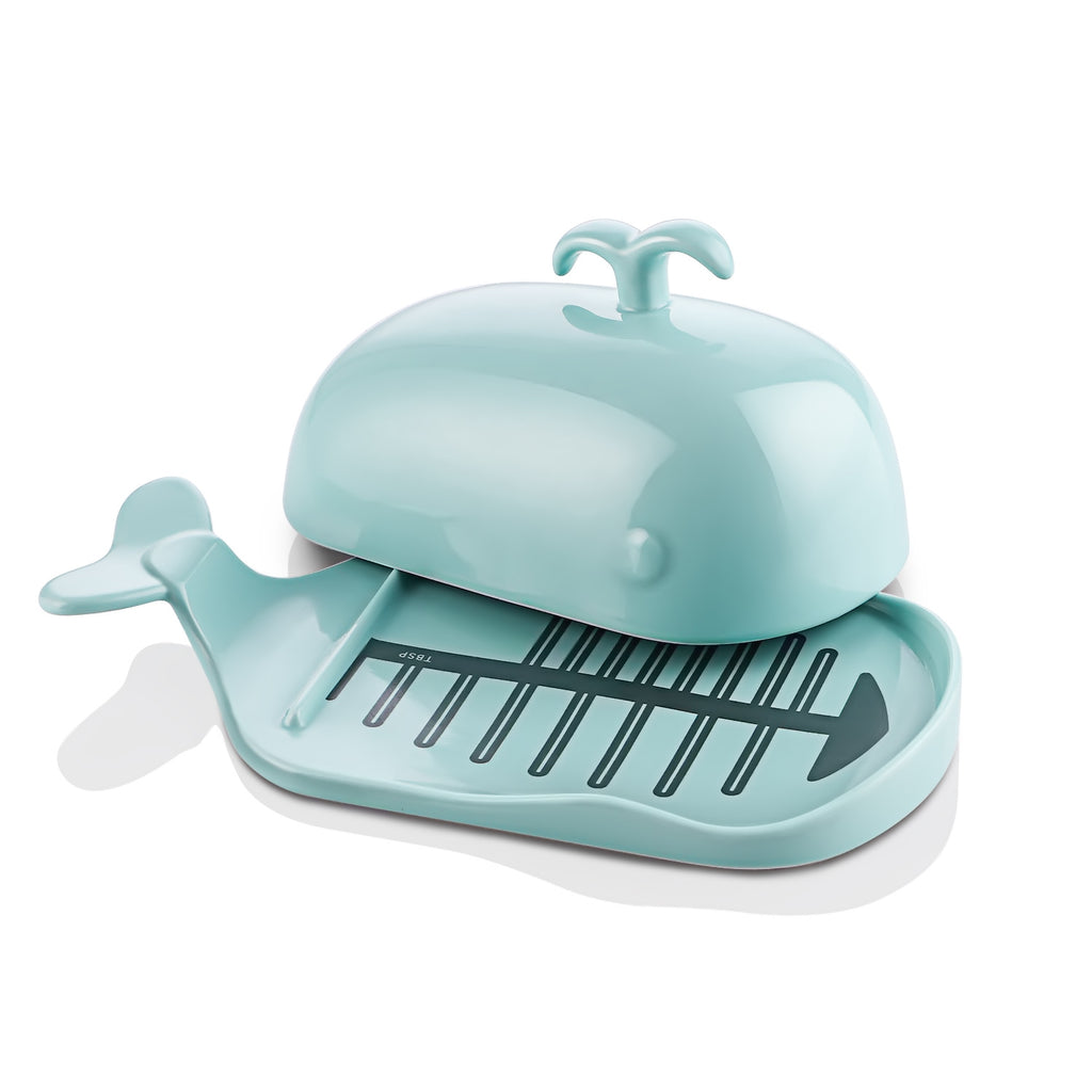 DOWAN Turquoise Large Cute Butter Dish Whale Shape for both East and West Coast Butters