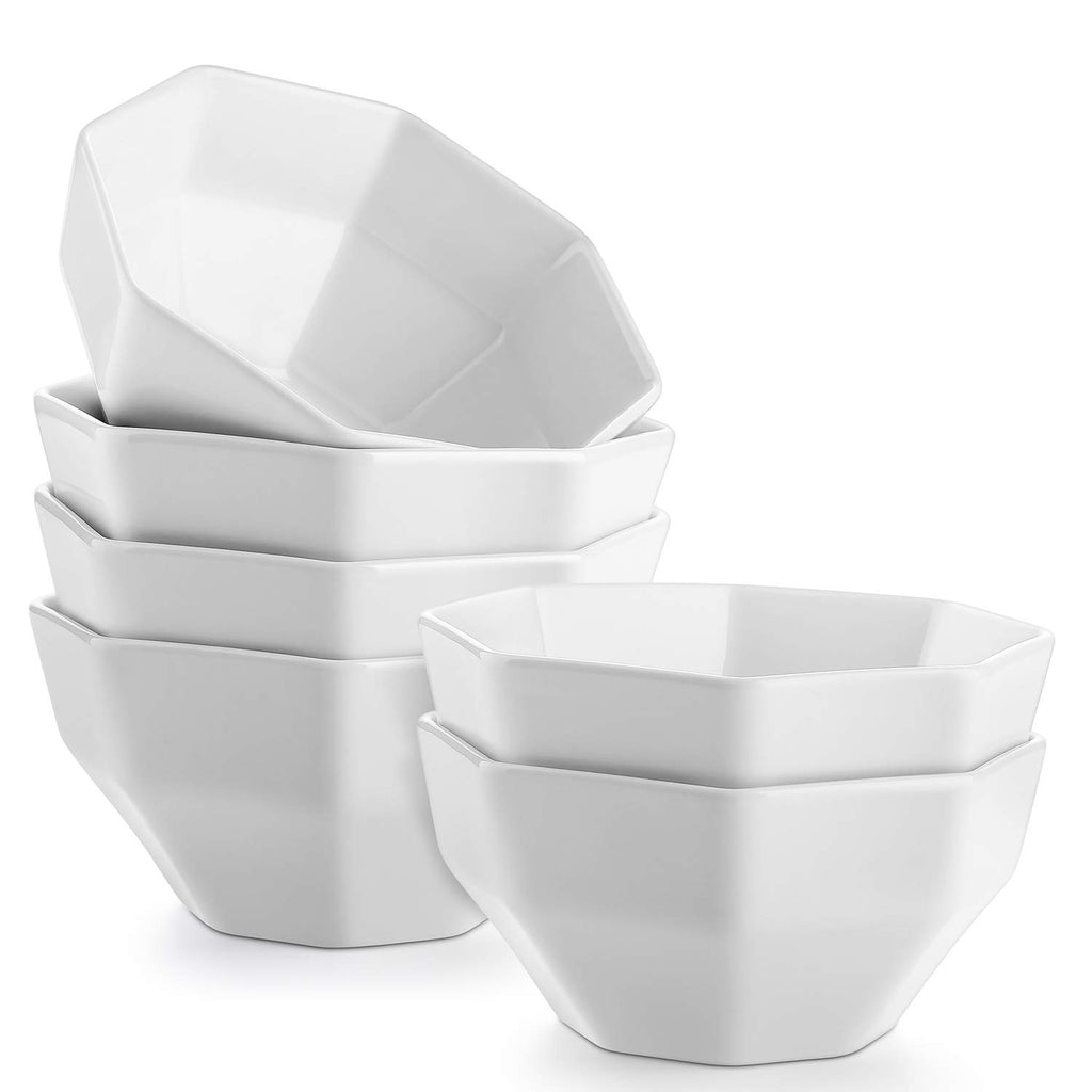 DOWAN 26-Ounce White Porcelain Dessert /Soup Bowls, Set of 6